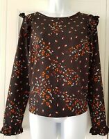 Womens New Look Black Floral Ditsy Frill Shoulders Cuffs Boxy Blouse Top 14 New.