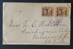 1905 Guatemala to Michigan City Mississippi 1903 25 Cent Overprint Stamps Cover