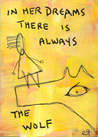 20121304 e9Art ACEO Wolf Dreams Outsider Art Brut Painting Contemporary Folk