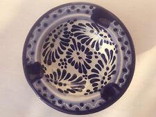 "Authentic Talavera Ceramic Ashtray 4""  Mexico Pottery Decor Blue Dots Rim"