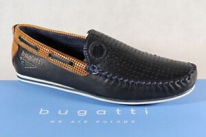 Bugatti Slipper Shoes Sneakers Trainers Blue / Braun Real Leather 70466 New