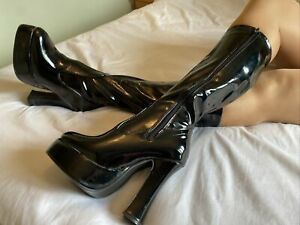 Key Trading Black Patent Gothic Platform Mid Calf Boots Size 5 EUR 38 With Box