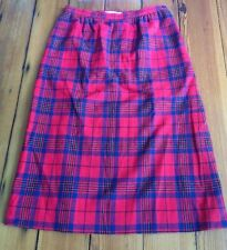 "Vtg Pendelton Wool Red Leslie Scottish Tartan Plaid Maxi Pencil Skirt 28"" Waist"