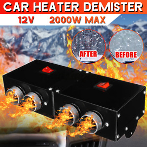 2000W 12V 4 Hole Car Air Heater Fan Quick Heating Windscreen Defroster Demister