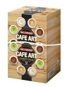 AIK CHEONG Cafe Art (Matcha, Cappuccino, Latte, Chocolate) -VARIETY Pack