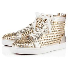 Christian Louboutin Mens Louis Orlato Flat Spike Platine Gold High Sneaker 45 12