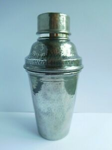 GOOD EXAMPLE OF A TUDRIC PEWTER HAMMERED COCKTAIL SHAKER