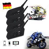 4X Motorrad Helm Sprechanlage Gegensprechanlage Intercom 1200m 6 Riders GPS DE