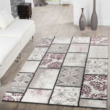Moderner Kurzflor Teppich Patchwork Shabby Chic Meliert Pastell In Lila Creme