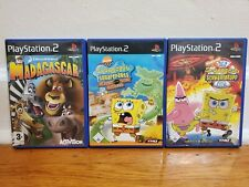 Lot of 3 PAL Sony PlayStation 2 PS2 Video Games Spongebob Madagascar UNTESTED