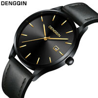 Men's Casual Stainless Steel Case Leather Band Wrist Quartz Analog Date Watch