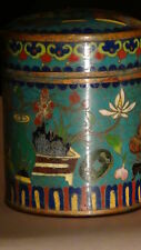 ANTIQUE CHINESE CLOISONNE  LIDED TEA CADDY