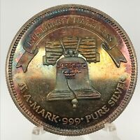 1984 Proof  A-Mark 1 Troy Oz Pure .999 Silver, Gem BU. Rainbow Toned Round #2