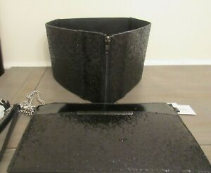 Women Handbag Clutch Wristlet Black Glitter Shoulder Purse w/ Matching Belt NWT