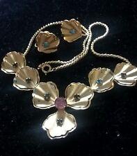 Stunning Golden Necklace & Earrings w/ Rhinestones, Vintage Busby & Niel Jewelry