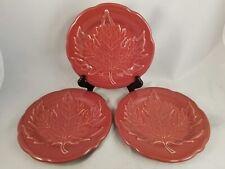 Set of 4 Longaberger Leaf Paprika Dessert Pie Plates