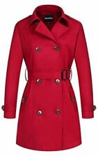 Women's Rain Winter Trench Coat, Long Double-Breasted With Belt (Red, size XL)