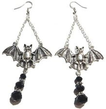 Silver & Black Beaded Vampire Bat Earrings pendant halloween gothic witch 4Y