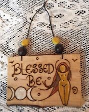 Blessed Be Wall Hanging Goddess SIGN Wooden Triple Moon Charm Amulet Pagan Decor
