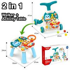 2 IN 1 WALKER & ACTIVITY TABLE With LIGHT & SOUNDS BABY WALKER WITH MUSIC- BLUE