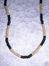 """NEW NATURAL LIGHT TAN & BLACK COCO BEAD WOODEN STRAND JEWELRY 16"""" NECKLACE"""
