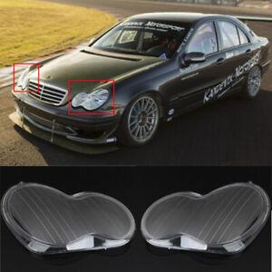 Headlight Headlamp Clear Lens Cover For Mercedes Benz 01-07 W203 C-Class Lens