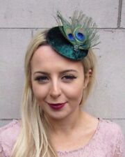 Dark Green Peacock Feather Pillbox Hat Fascinator Hair Clip Races Cocktail 4405