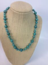 Whitney Kelly  WK sterling silver  925 Round Turquoise Bead Necklace 18""