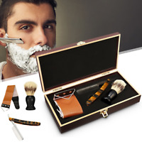440C Straight Razor Steel Cut Throat Shaving Brush Strop Wooden Box Gift Set K