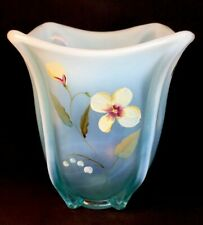 Fenton Art Glass Hand Painted Sand Petals Aquamarine Opalescent Square Fish Vase