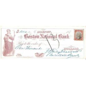ANTIQUE 1870'S BOSTON NATL BANK $1000 CHECK W/2 VIGNETTES ! -d2886ttt