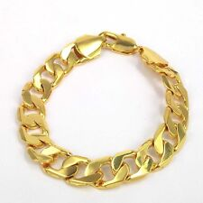 "9"" 12mm 18k giallo oro riempito Bracciale Curb catena Men's Christmas regalo di compleanno"