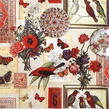 6 COCKTAIL Tovaglioli di carta 25x25cm per DECOUPAGE PARTY Decopatch Craft Collage Rosso