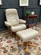 No 1 AMAZING MORAN LEATHER ACTIVE FULL RECLINER ARMCHAIR LOUNGE CHAIR & OTTOMAN