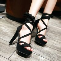 Women Suede Stiletto Strappy Sandals Lace Up Lady Platform High Heels Shoes New