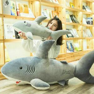 70-130CM GIANT HUGE BIG SHARK STUFFED ANIMAL PLUSH SOFT TOY BEAN BAG PILLOW SOFA