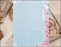 Floral Design Lined Stationery Writing Paper Set, 25 sheets & 10 envelopes