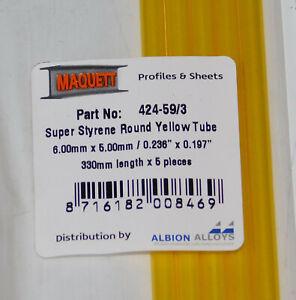 "MAQUETT 424-59/3 Super Styrene yellow tube 6mm x 5mm / 0.236""x 0.197"" x 330mm X5"