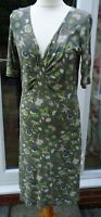 BODEN GREEN PATTERN SHORT SLEEVE V NECK DRESS SIZE 12 R