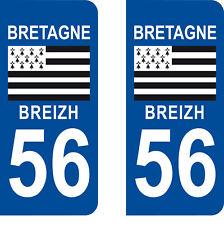 Département 56 sticker 2 autocollants style immatriculation AUTO PLAQUE