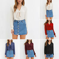 Women Bow Tie Chiffon Blouse Long Sleeve V-Neck Shirt Tops Office Lady Casual