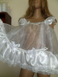 WHITE ORGANZA SATIN  ADULT BABY DOLL SISSY NIGHTIE + PANTIES SIZE LARGE FRILLY