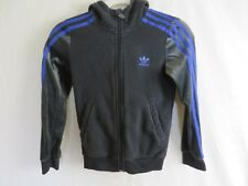 Adidas Boys Hoodie Jacket Zip Front Black with Blue Stripes Small (8-10) #7921