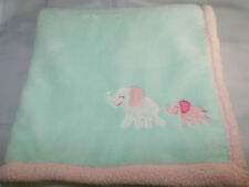 Baby Gear Mom & Baby Elephants Teal Green & Pink Baby Blanket