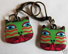 CAT FACE GREEN & ORANGE ENAMEL CHARM BRASS TONE EARRINGS FOR PIERCED EARS