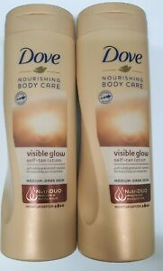 2 x Dove Visible Glow Self Tan Lotion 400 ml - Medium to Dark Skin