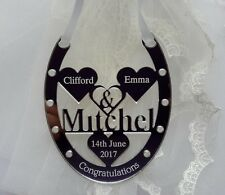 Buena suerte día de boda Zapato de caballo de regalo con el nombre de Novia & Novio Sr. & sra. Mitchell