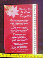 Poem Card Missing You So Much Daughter Christmas Poem Hard Plastic Gift Card New