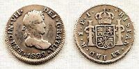 Spanien-fernando VII. 1/2 echte. 1822. Potosi. MBC/VF Silber 1,7 g. knapp