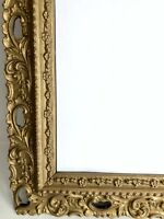 """Wall Mirror Picture Frame 21.5"""" X 17.5"""" Wood Gesso Gilt Gold Vtg Ornate"""